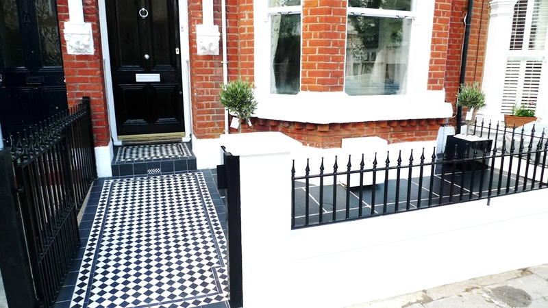 Geometric Black And White Victorian Tile Path London