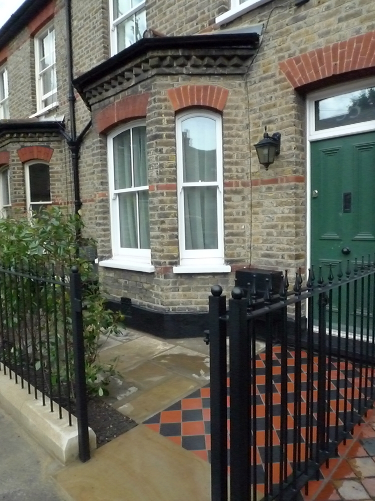 mosaic-tile-path-yorkstone-paving-and-cut-yorkstone-plinth-rails-and-gate-classic-london-front-garden.JPG