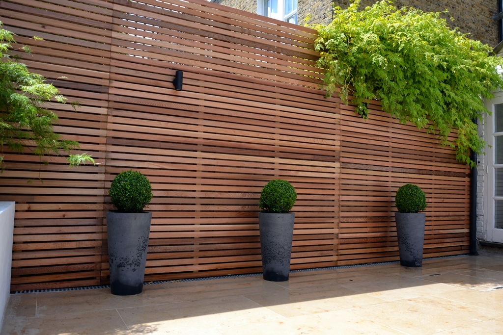 Cedar batten privacy screen trellis with grey stone pots buxus balls