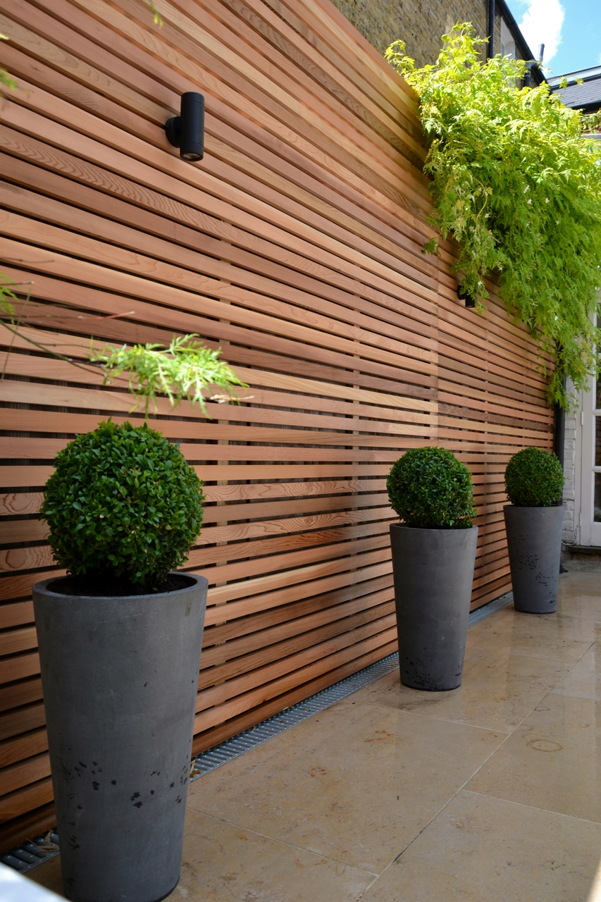timber batten cladding trellis privacy screen  London Garden Blog
