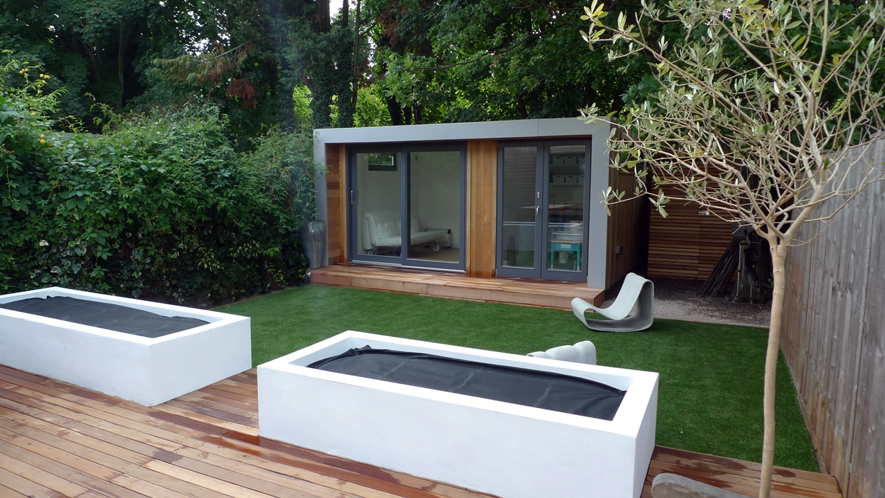 Summer house office archives london garden blog for Garden decking and grass