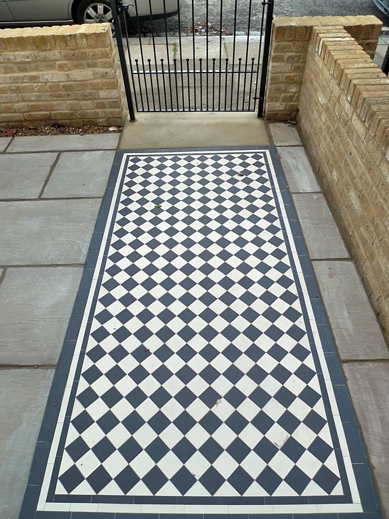 classic-70mm-black-and-white-mosaic-tile-path-with-new-brick-wall-and-cut-yorkstone-entrance-stone.JPG