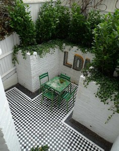 Victorian mosaic courtyard garden, romantic classical elegance