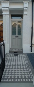 grey and white mosaic tile path in dulwich london