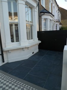 mosaic path slate paving bespoke bin store london front garden