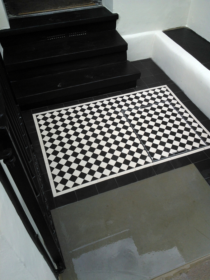 balck and white victorian tile front path clapham london