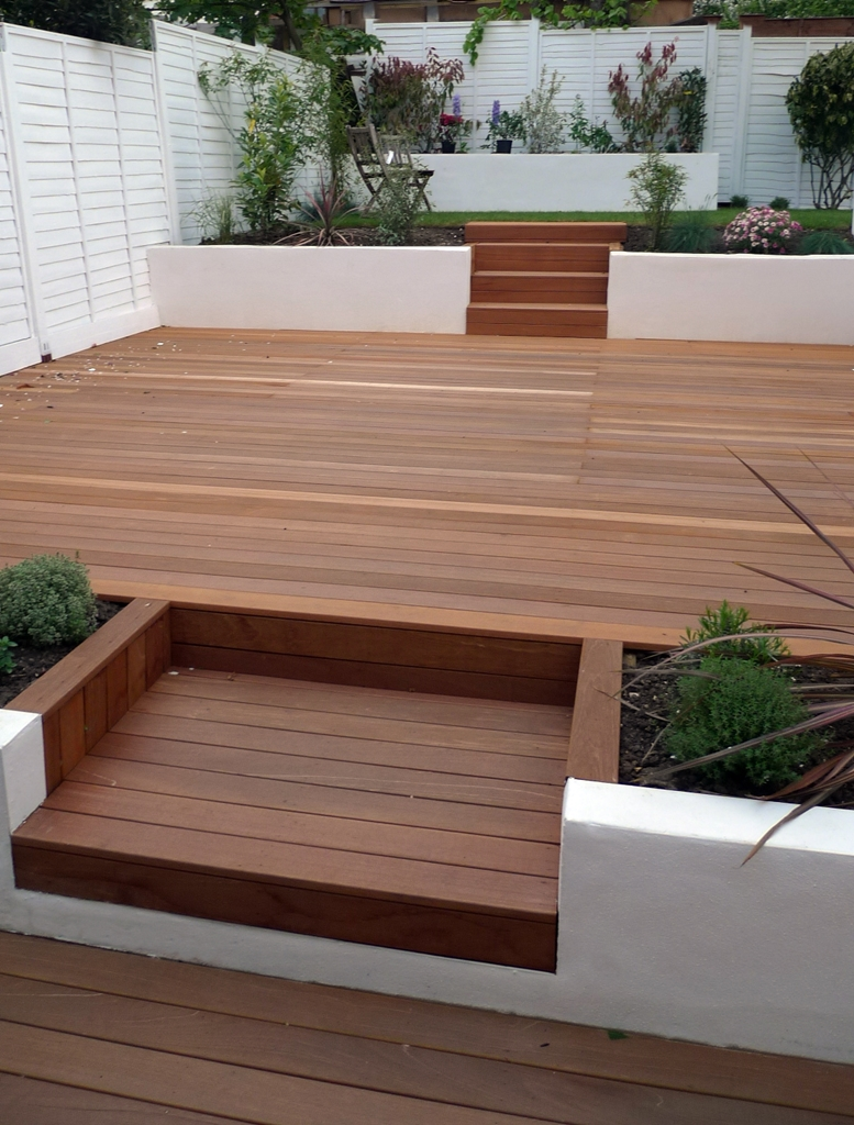 amazing multi level deck in hardwood modern garden design ideas london with two tier deck designs - Garden Ideas On Two Levels