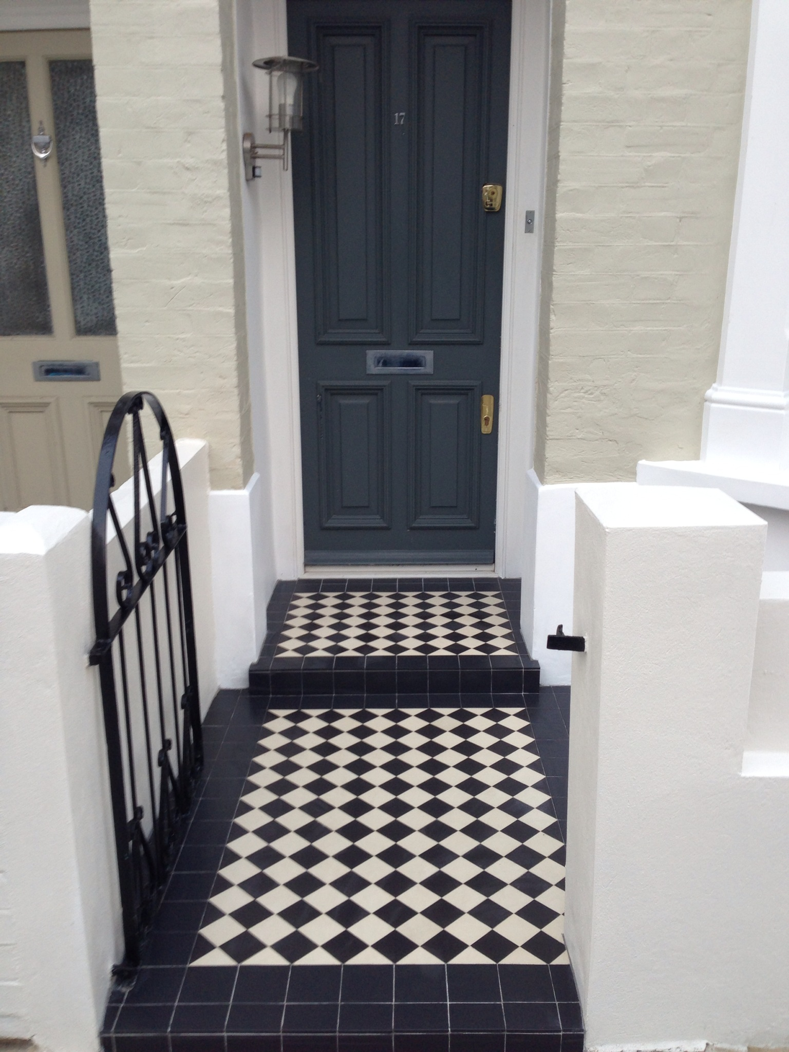 black and white viictorian mosaic tile path fulham london