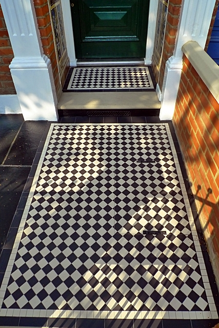 black and white mosaic tile path in tooting london
