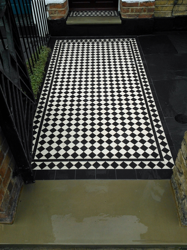front garden victorian black and white diamond mosaic tile path london