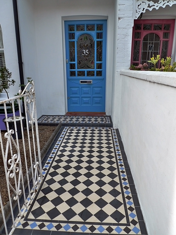 victorian black and white mosaic tile path with blue diamond border london