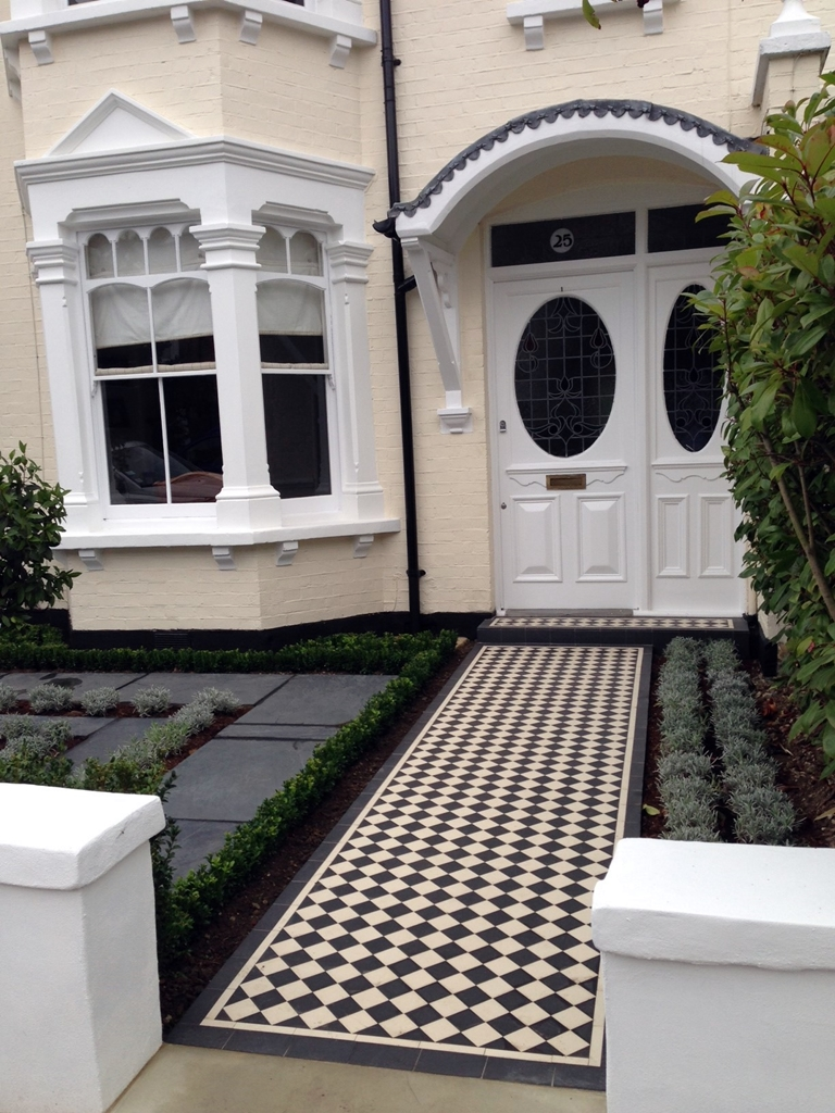 black and white victorian mosaic tile path wimbledon london