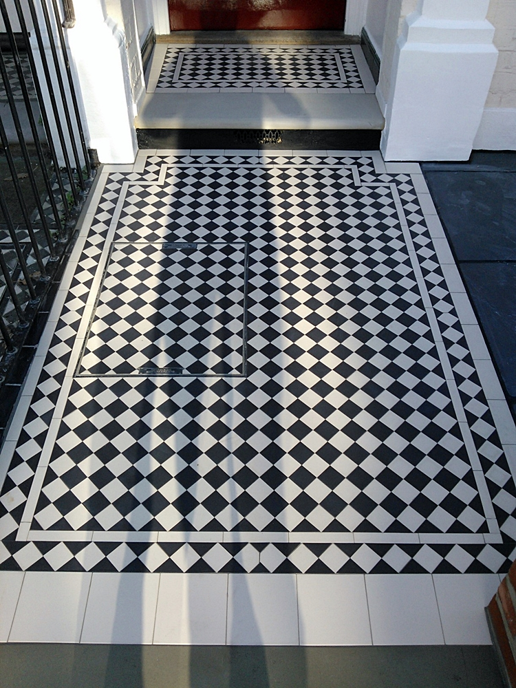 black and white victroain msoaic tile path london