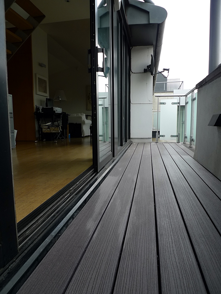 plastic composite decking grey colour london installer