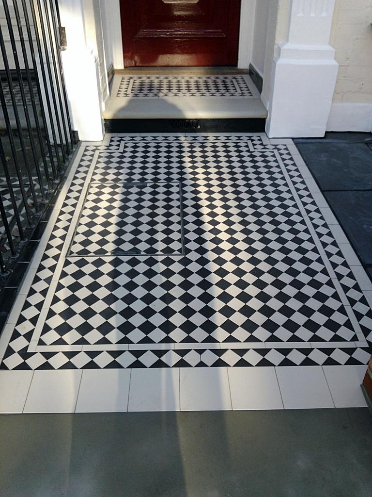 Black And White Victorian Mosaic Tile Path Clapham London