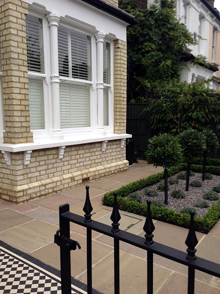 victorian mosaic tile path sandstone paving and formal planting london
