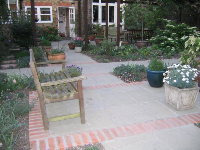 Grey yorkstone effect composite patio paving london