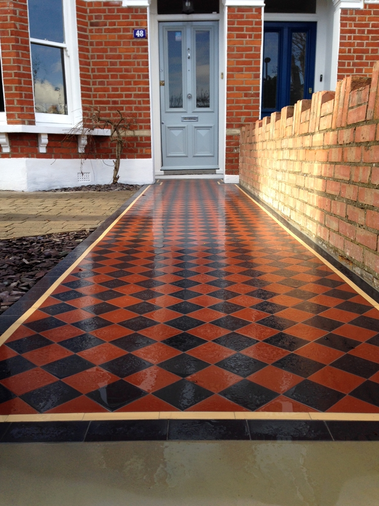 black and red victorian mosaic font garden tile path with cream and black border dulwich london