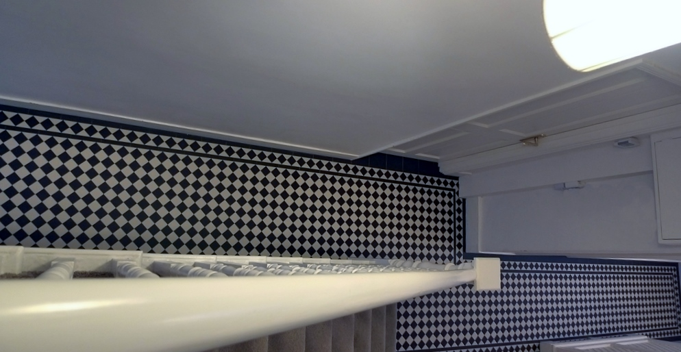 black and white hallway mosaic tile path