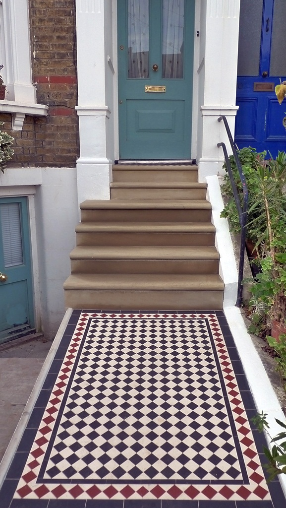 bullnose yorkstone steps and black and white victorian mosaic tile path