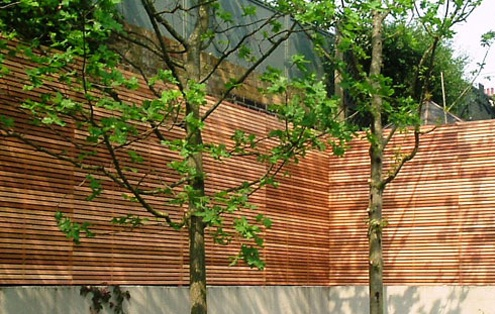 hardwood privacy screen fence trellis  on wall  london