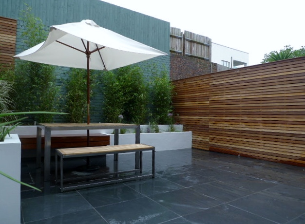 hardwood slatted trellis privacy screen courtyard garden clapham london