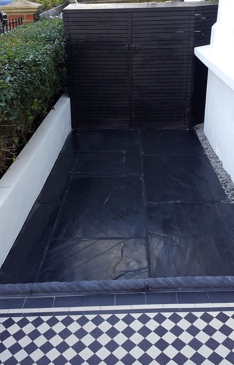 slate paving aptio front garden with rope edge tiles black and white victorian mosaic tile path london