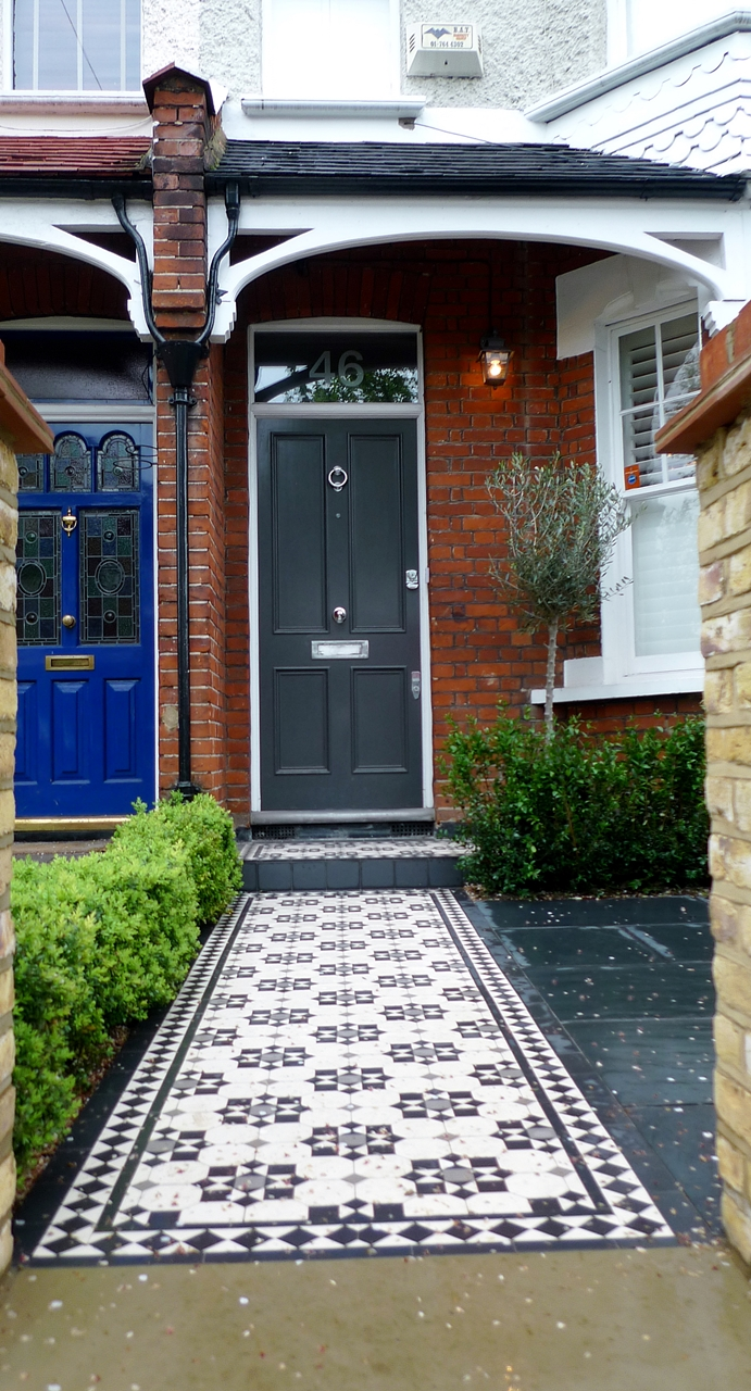 Classic victorian mosaic tile path and porch in cornwall pattern wimbledon london