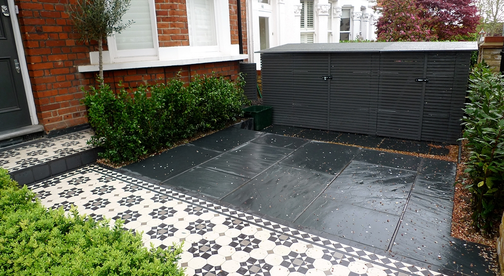 bespoke bin and bike store slate paving mosaic tile path formal planting wimbledon london