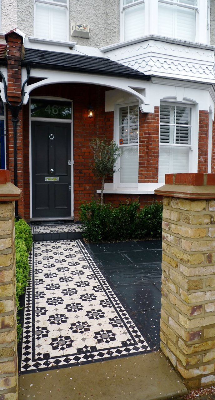 cornwall pattern london mosaic path with yorkstone bull nose step and slate paving with new brick wall