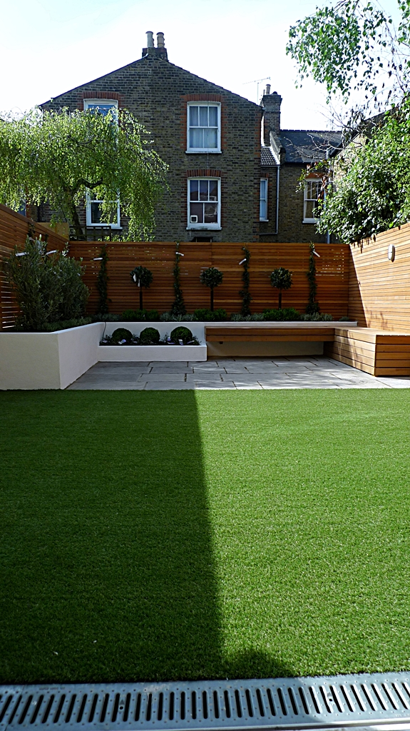 Modern Garden Design Courtyard Easy Lawn Grass Cedar