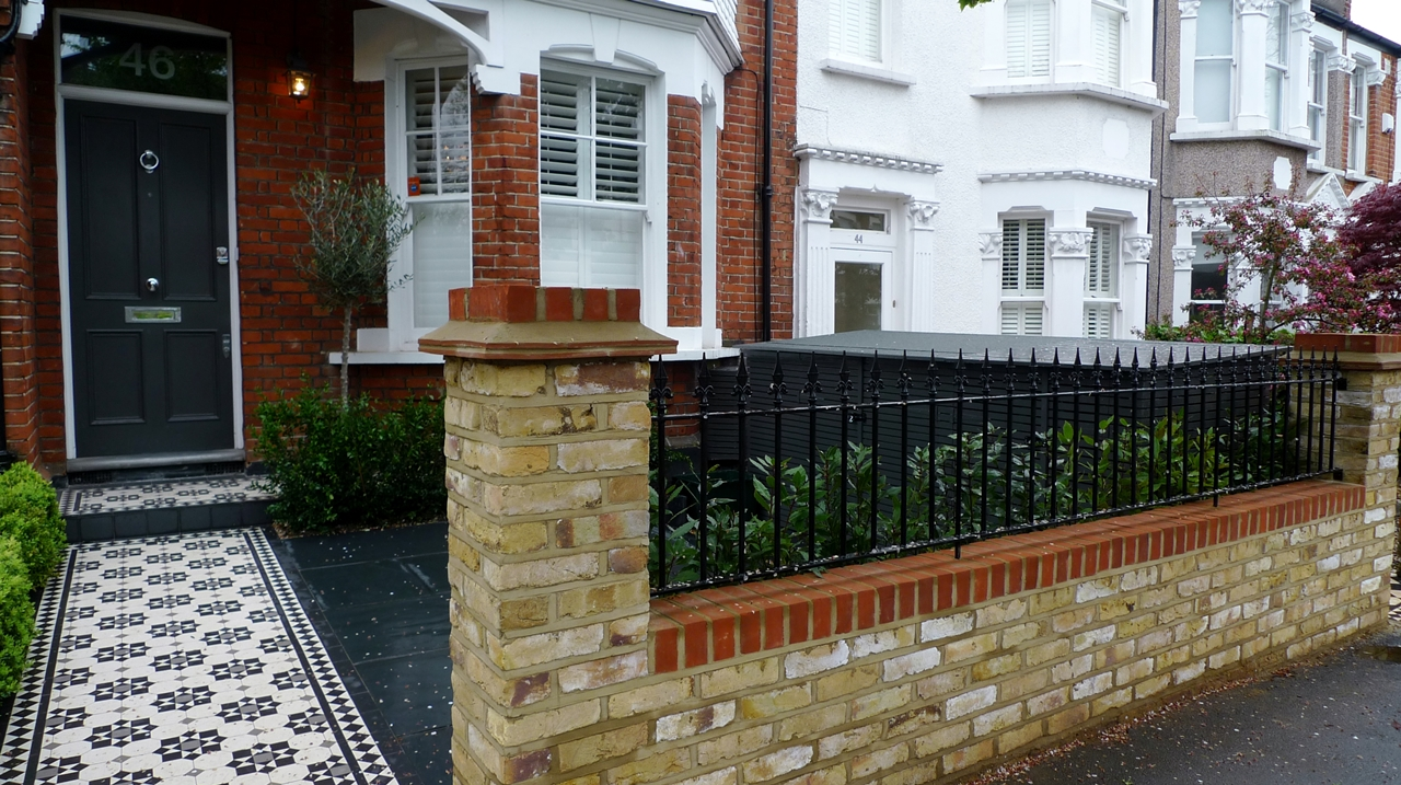 victorian mosaic tile path and porch with yellow brick london wall wimbledon