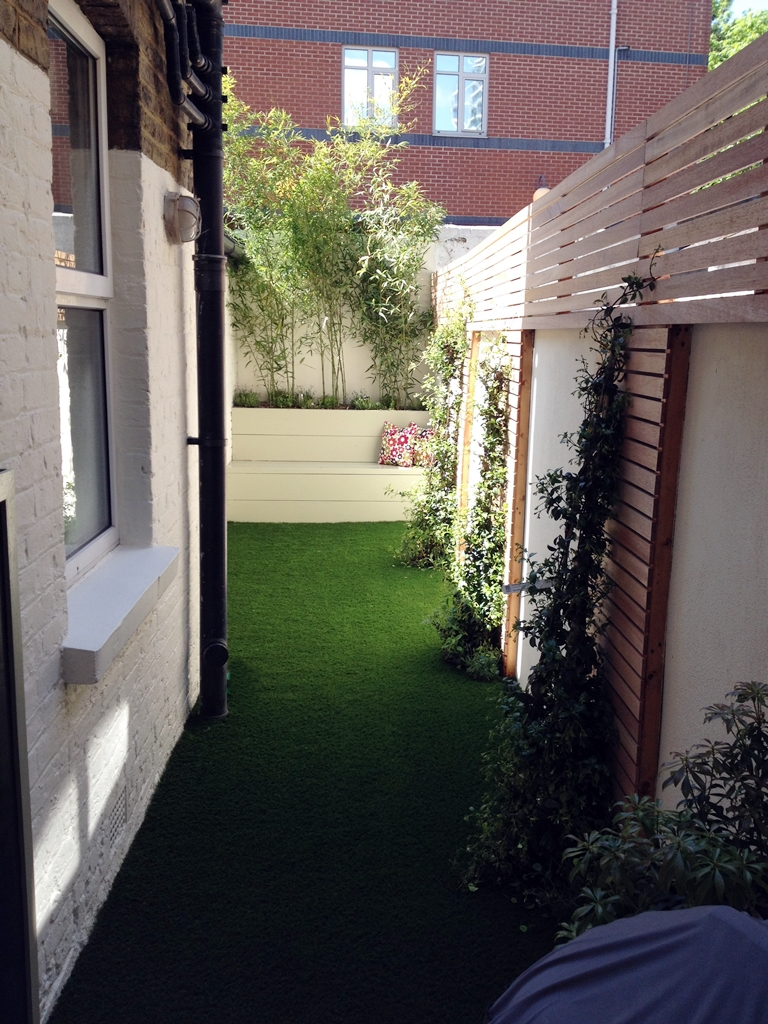 Before and after small courtyard garden design london for Garden decking before and after