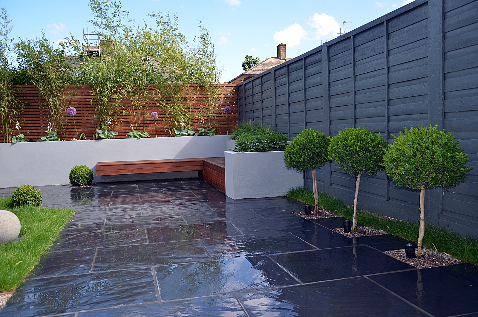 modern sleek garden ideas london landscaper minimalist simple design low maintenance