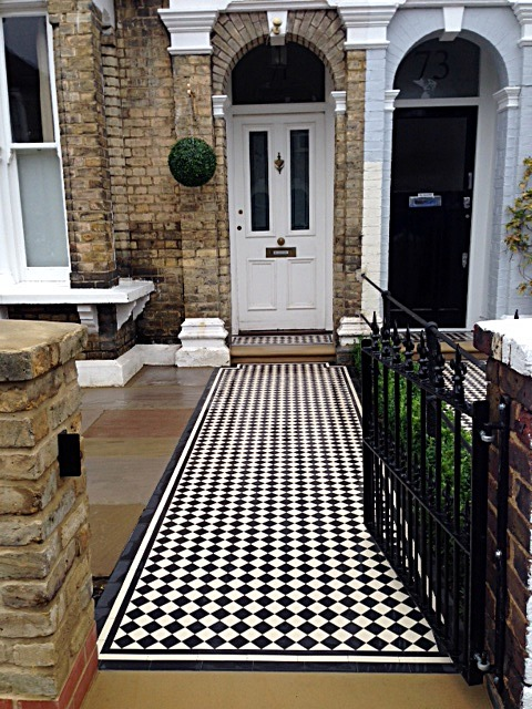 Victorian Mosaic tile Path York stone Bullnose Entrance Stone Wrought Iron Metal Rail & Gate Victorian Path Edge Border Tile Balham London (5)