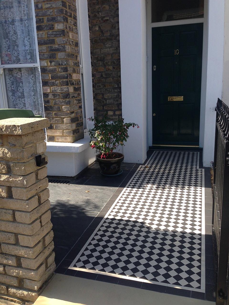 London Front Garden victorian black and white mosaic tile path