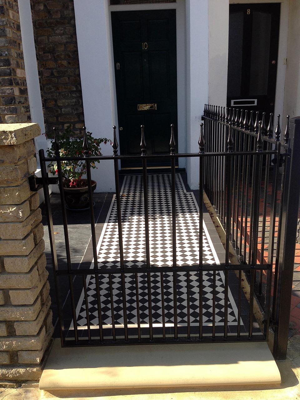 London Front Garden victorian mosaic tile path Bull nose York stone