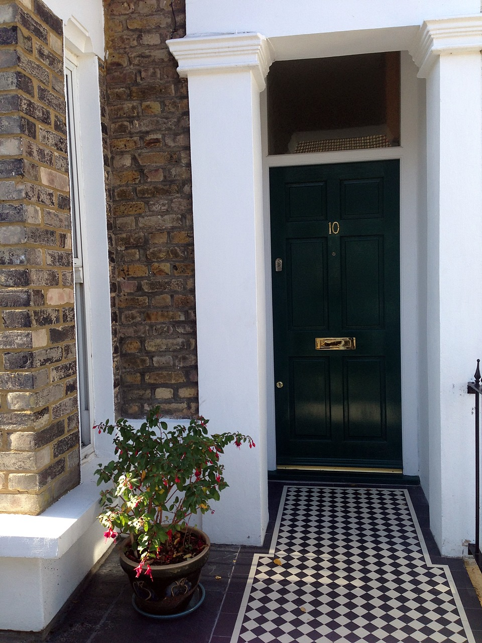 London Front Garden victorian mosaic tile path and slate paving