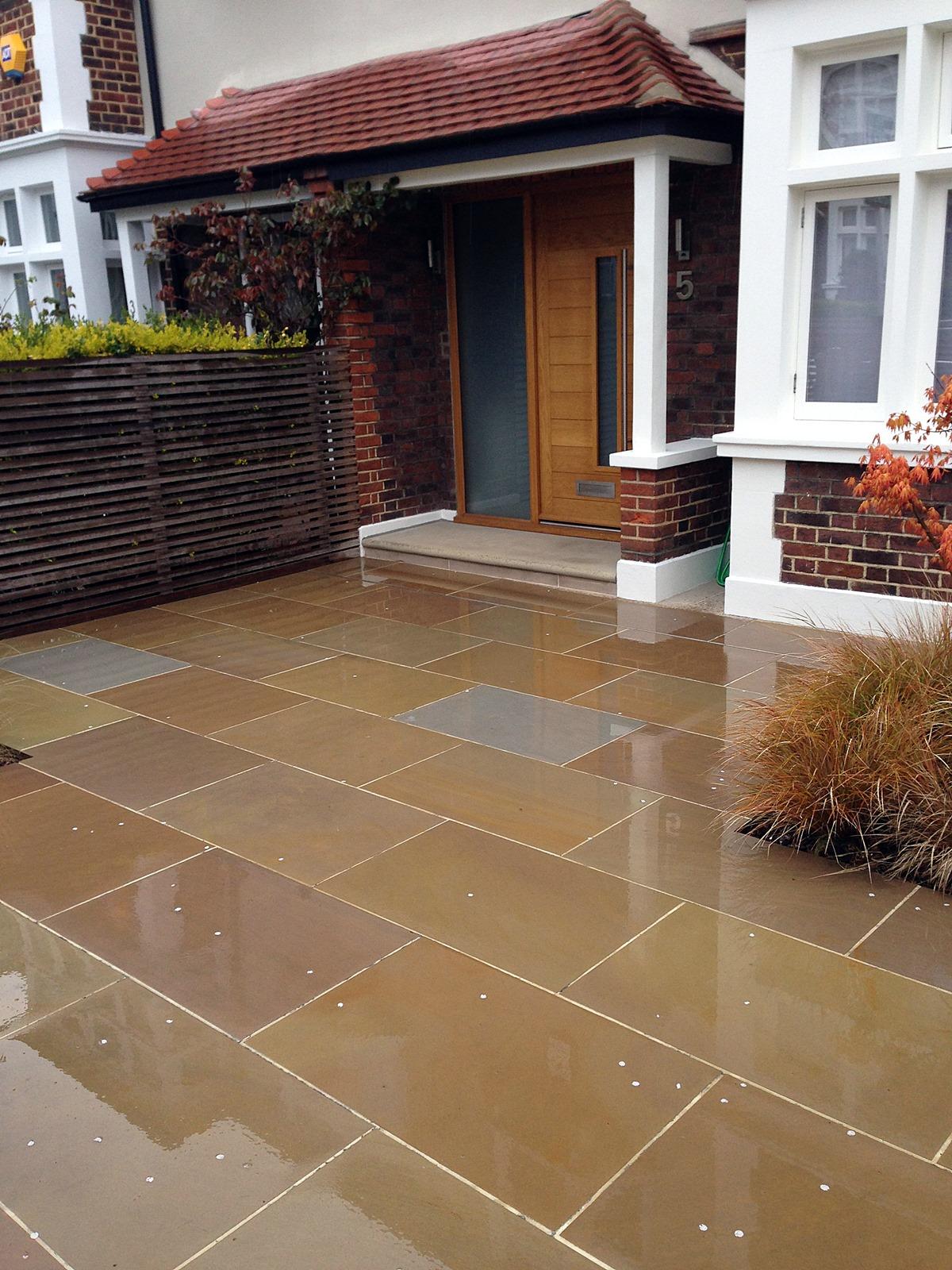 Front driveway balham clapham london sandstone paving  (1)