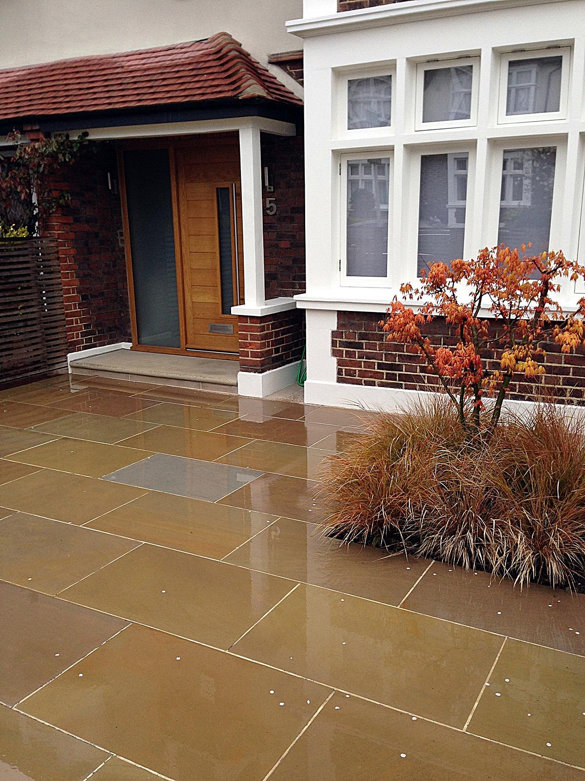 Front driveway balham clapham london sandstone paving  (2)