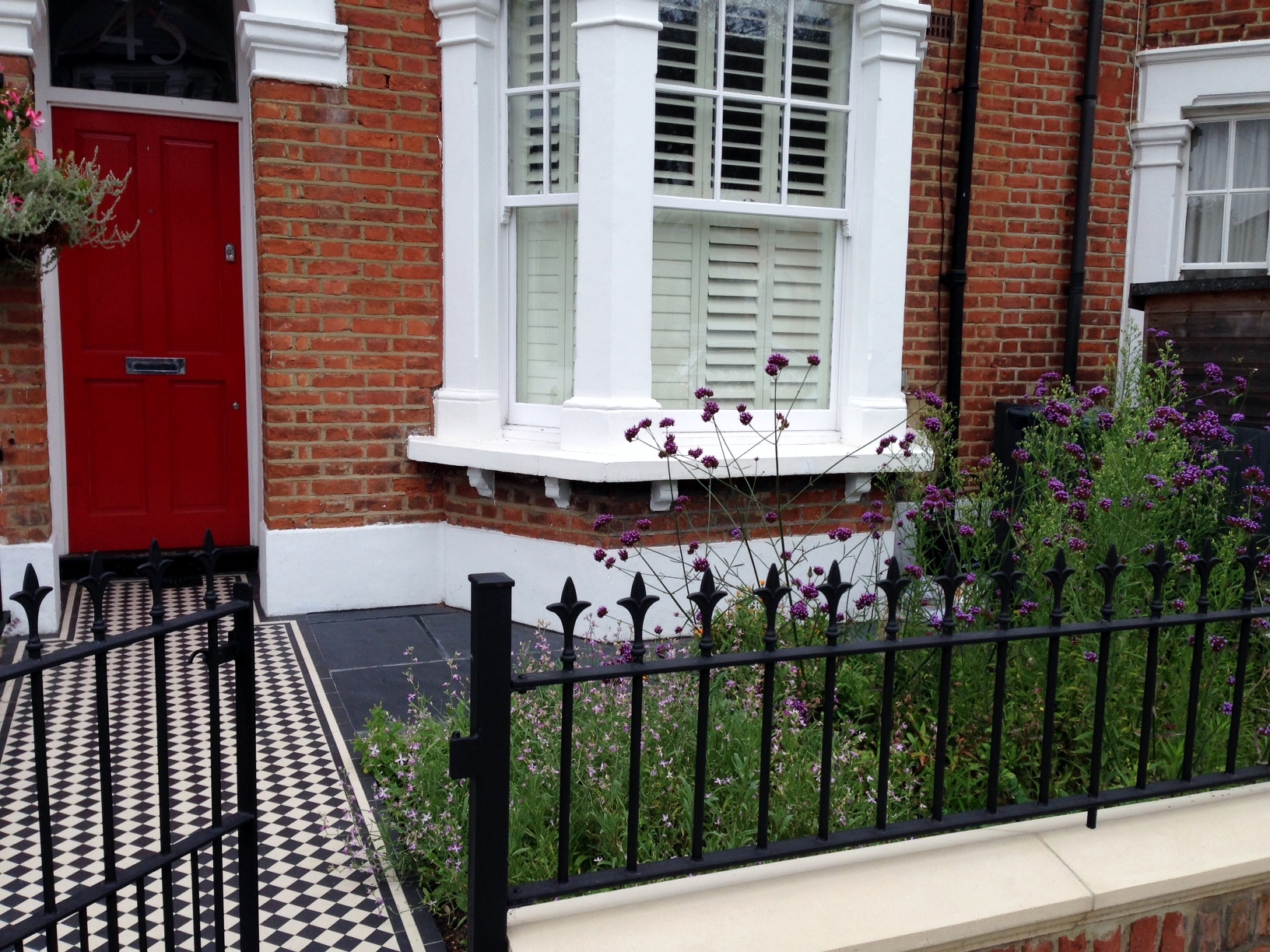 front wall rail garden mosaic victorian tile path balham london (3)