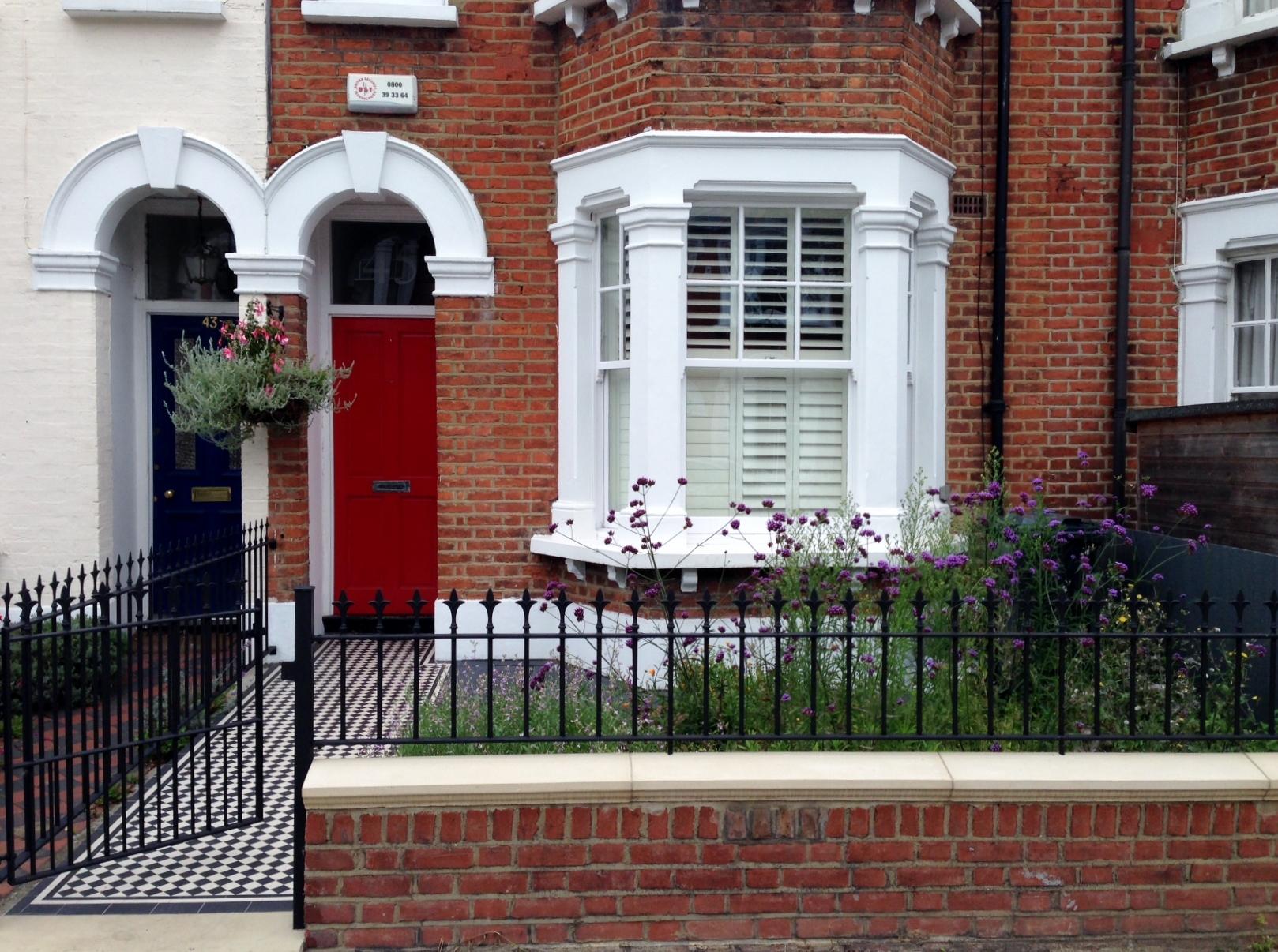 front wall rail garden mosaic victorian tile path balham london (5)
