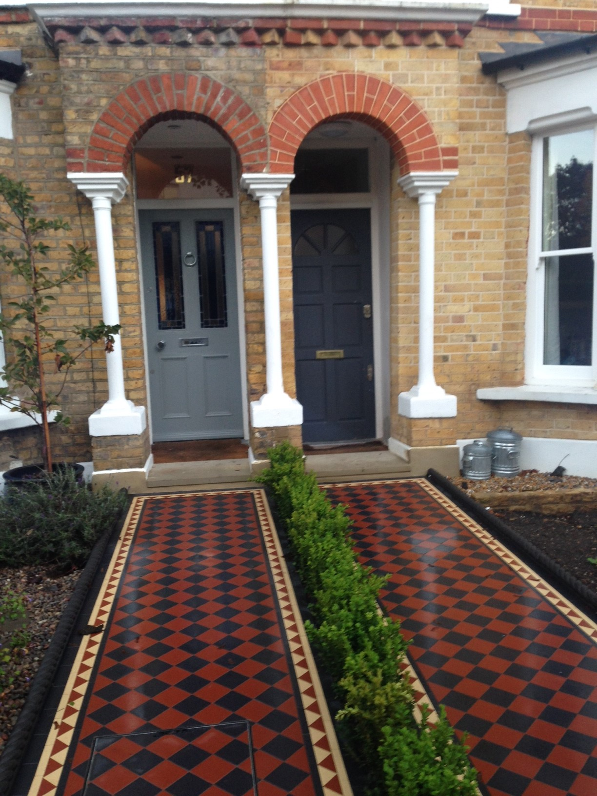 Brixton Herne Hill Victorian Mosaic Tile Path black and red tile with Yorkstone pier cap entrance stone and imperial yellow brick london stock wall (10)
