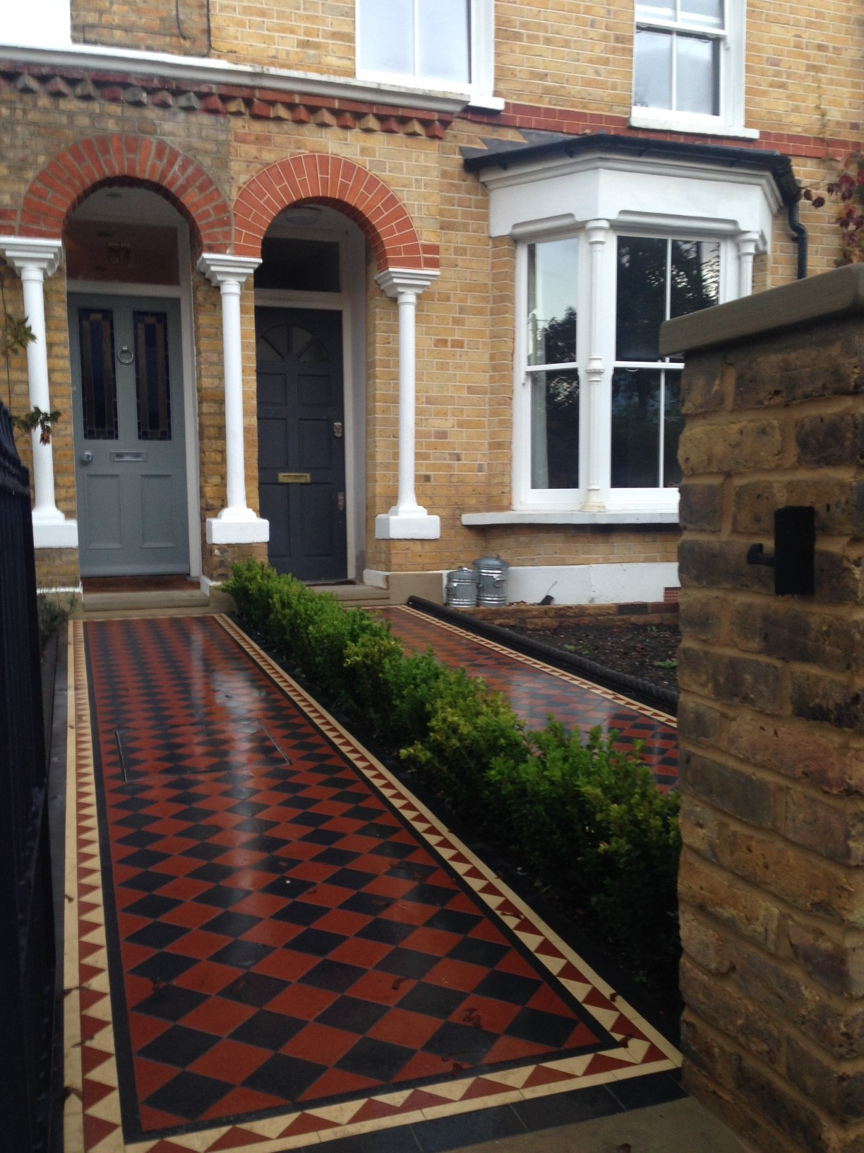 Brixton Herne Hill Victorian Mosaic Tile Path black and red tile with Yorkstone pier cap entrance stone and imperial yellow brick london stock wall (11)