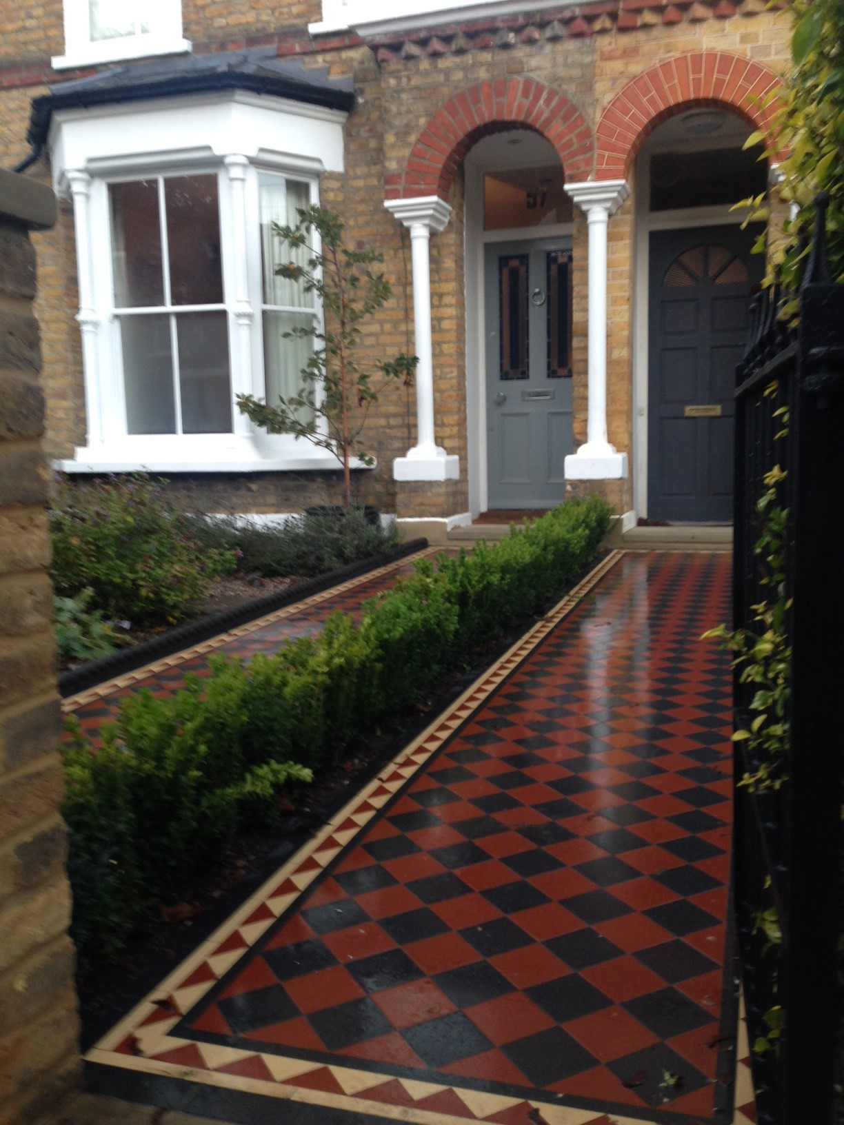 Brixton Herne Hill Victorian Mosaic Tile Path black and red tile with Yorkstone pier cap entrance stone and imperial yellow brick london stock wall (12)
