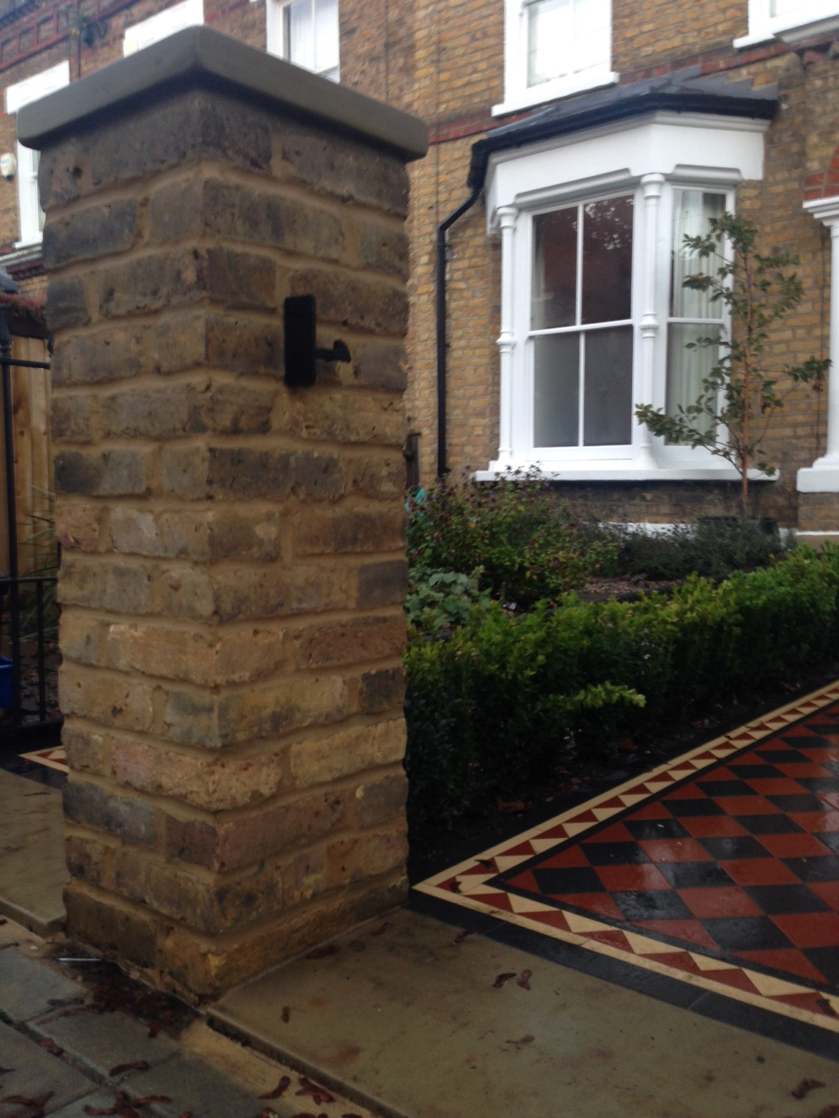 Brixton Herne Hill Victorian Mosaic Tile Path black and red tile with Yorkstone pier cap entrance stone and imperial yellow brick london stock wall (14)
