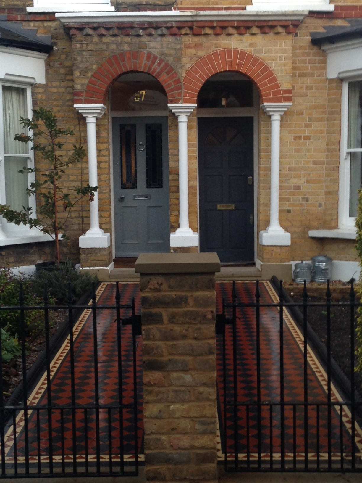 Brixton Herne Hill Victorian Mosaic Tile Path black and red tile with Yorkstone pier cap entrance stone and imperial yellow brick london stock wall (17)