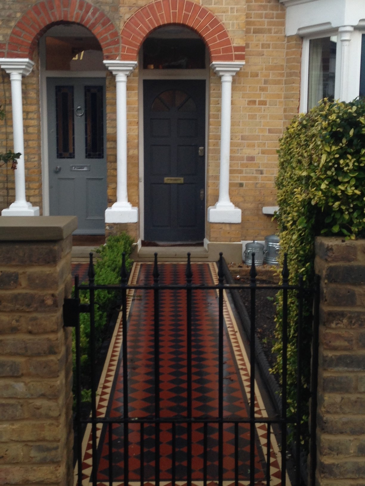 Brixton Herne Hill Victorian Mosaic Tile Path black and red tile with Yorkstone pier cap entrance stone and imperial yellow brick london stock wall (18)