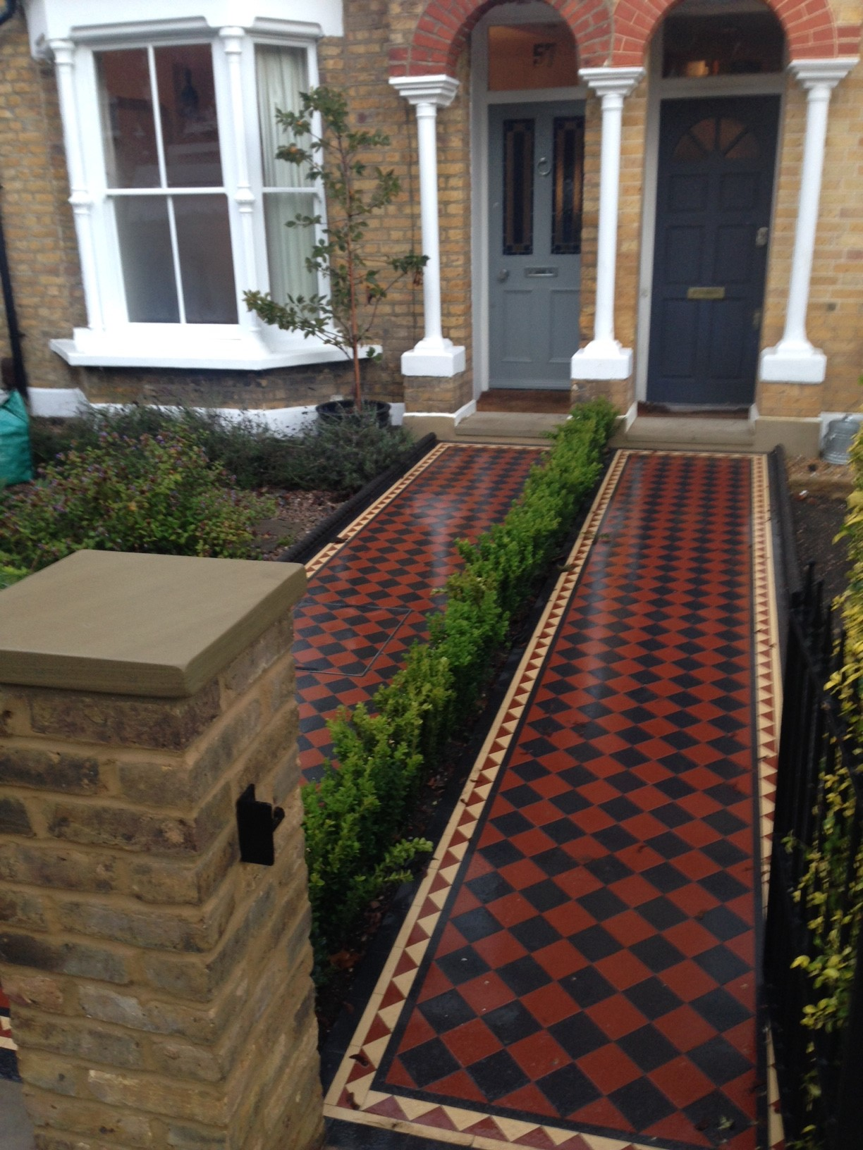 Brixton Herne Hill Victorian Mosaic Tile Path black and red tile with Yorkstone pier cap entrance stone and imperial yellow brick london stock wall (3)