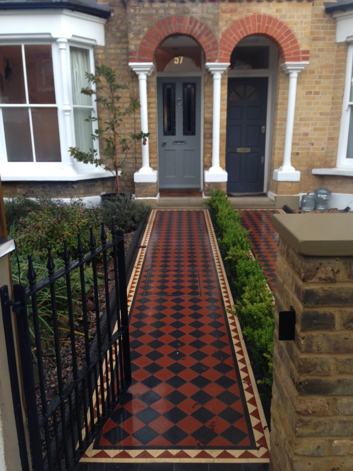 Brixton Herne Hill Victorian Mosaic Tile Path black and red tile with Yorkstone pier cap entrance stone and imperial yellow brick london stock wall (4)